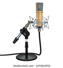 Studio microphone with shock-mount on the tabletop holder. 3D rendering