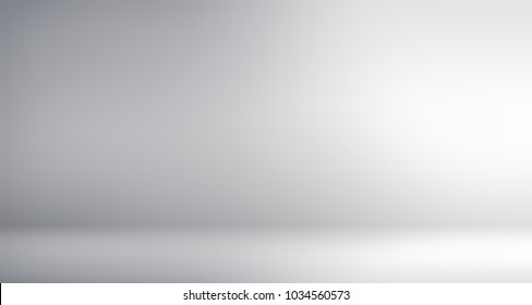 Studio neutral blurred template. Room interior grey banner. Empty background. White abstract texture. Wall and floor defocused 3d illustration.