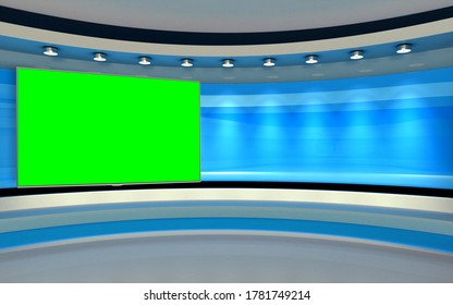 Studio The perfect backdrop for any green screen or chroma key video production, and design. 3d render