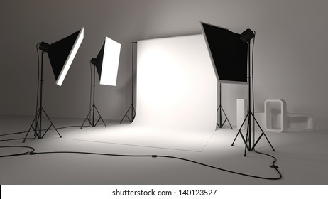 studio photo with softbox and background