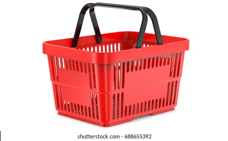 A studio render ,of an empty shopping basket. 3d llustration, 3D render, isolated on white background