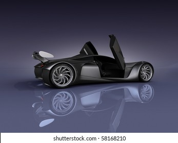 studio render sport concept car side view