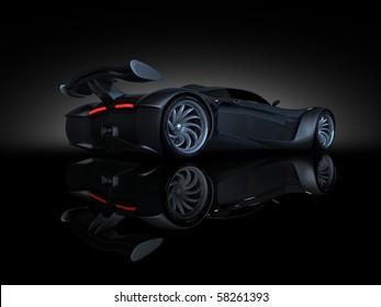 studio render sport concept car side view text