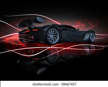studio render sport concept car side view fire