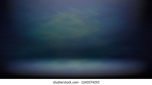 Studio room, Floor and wall background, Dark gradient blue grungy background for display or montage of product, Backdrop for business shoot.