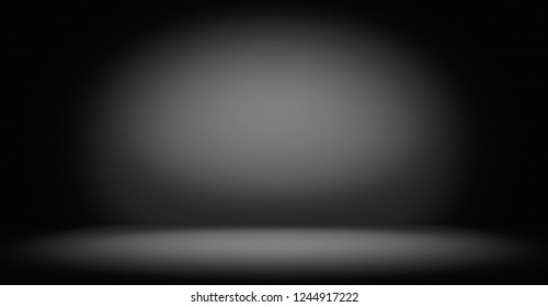 Studio room, Floor and wall background, Dark gradient black and white grungy background for display or montage of product, Spotlight backdrop for business shoot.