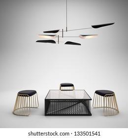 Studio setup with modern furniture