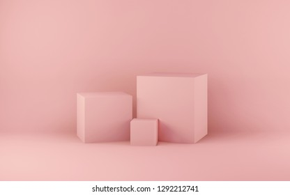 Studio shooting set up of light pink background and cube pedestals of various dimensions. 3D illustration and rendering concept backdrop.