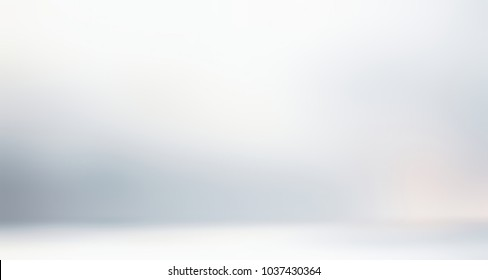 Studio white empty background. Wall and floor gleam abstract texture. Room blurred flare 3d illustration. Banner glow defocused interior. Holiday decor. Wedding style.
