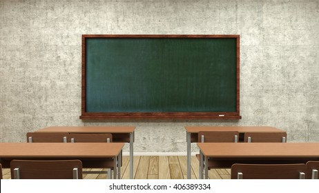 Study desks and the teachers' board in the classroom,the 3D illustration