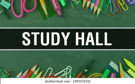 Study hall text written on Education background of Back to School concept. Study hall concept banner on Education sketch with school supplies. Study hall with Pencils over classroom,3D rendering