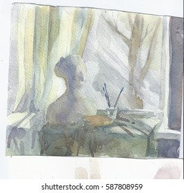 Study light still life - coloristic search. Academic paintings