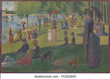 Study for A Sunday on La Grande Jatte, by Georges Seurat, 1884, French Post-Impressionist painting. This oil on canvas work was Seurat's final study for his most famous painting. It measures 28 by31