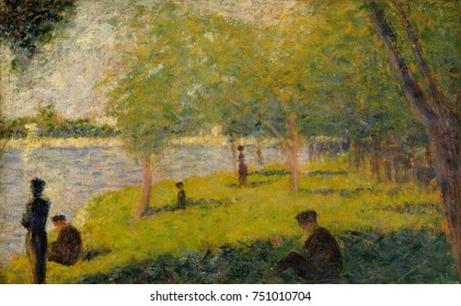 Study for A Sunday on La Grande Jatte, by Georges Seurat, 1884, French Post-Impressionist painting. This oil on wood panel is one of about fifty preparatory studies for Seurat made for his famous poin