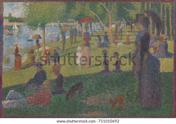 1884年、フランスのポスト印象派絵画、ジョルジュ・スーラ著、ラ ...