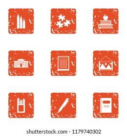 Study undertaking icons set. Grunge set of 9 study undertaking icons for web isolated on white background