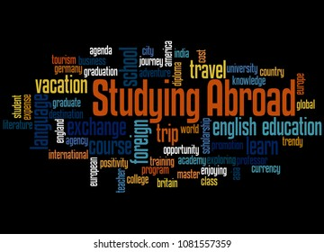 Studying abroad word cloud concept on black background.