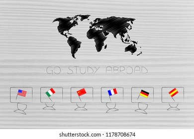 studying foreign languages conceptual illustration: students desks with country flags on them and world map above