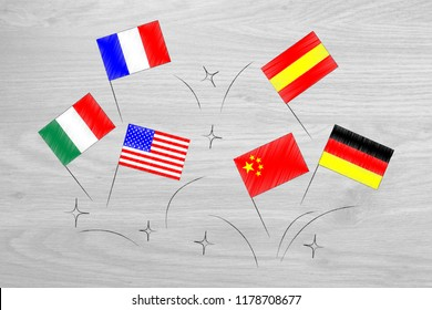 studying foreign languages conceptual illustration: country's flags flying around