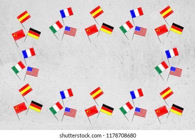 studying foreign languages conceptual illustration: mixed country flags border with copyspace in the centre
