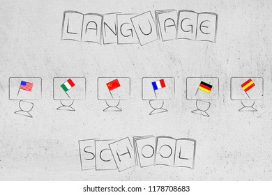 studying foreign languages conceptual illustration: students desks with country flags on them and text on books