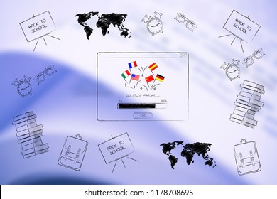 studying foreign languages conceptual illustration: go study abroad pop-up with country flags and school items all around