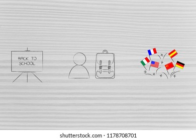 studying foreign languages conceptual illustration: back to school blackboard next to student and country flags