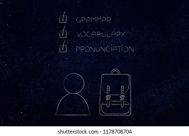 studying foreign languages conceptual illustration: student with backpack and grammar vocabulary and pronunciation text above