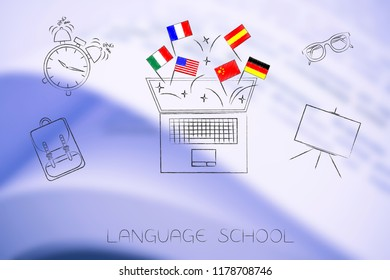 studying foreign languages conceptual illustration: country flags popping out of laptop surrouunded by school items