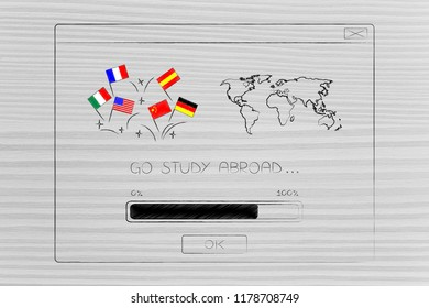 studying foreign languages conceptual illustration: country flags next to world map inside Go Study Abroad pop-up message