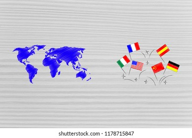 studying foreign languages conceptual illustration: world map next to country's flags