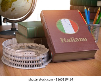 Studying and learn Italian concept. Book with flag of Italy and Coliseum on the table. 3d Iluustration