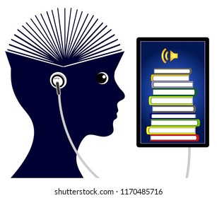 Studying with smartphone. Student listens to audiobooks on her cellphone to increase her academic performance