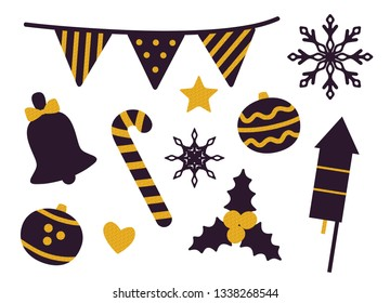 Stuff for Christmas party set of icons isolated on white background. raster illustration with decorations, firwork rockets and sweets drawn in black
