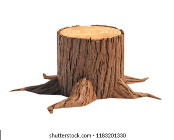 Stump isolated on white background 3d rendering