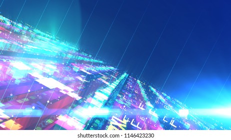A stunning 3d illustration of a cyberspace techno construction put aslant with puzzling figures of lego type stuck to each other. They are transparent and have antennae in the blue background.