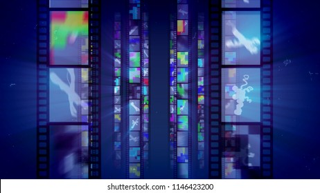 A stunning 3d illustration of vertical film tapes shining like mirrors with multicolored reflections changing each other in the dark blue background. They remind us about 1950s-1990s.