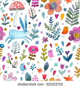 Stunning background with cute rabbit, birds, flowers, leafs and mushroom in awesome colors. Lovely forest theme set made in watercolor technique. Bright summer concept wallpaper