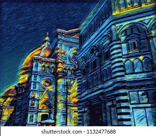 Stunning Facade of Florence Duomo (Cathedral de Santa Maria del Fiore, Firenze, Italy). Big size oil painting fine art in Vincent Van Gogh style. Modern impressionism drawn. Creative artistic print.