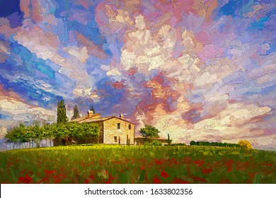 Tuscany Landscape Paintings Images Stock Photos Vectors Shutterstock