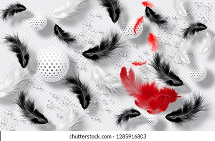 Stunning modern abstract design with globes of black, white and red feathers on a plain white background with water drops. Suitable for wallpapers and backgrounds. - 3d illustration