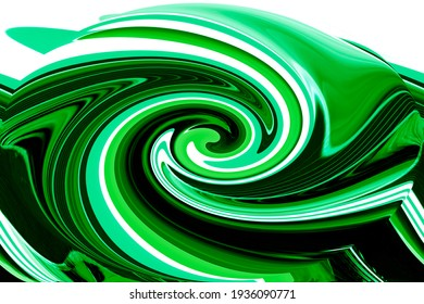 Stunning unique delicately extruded textured swirled 3D modern abstract design in green, black and white tints perfect for wallpapers and backgrounds in subtle tints and hues.