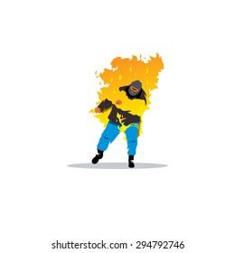 Stuntman. Burning man sign.
