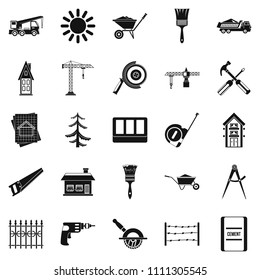 Sturdy construction icons set. Simple set of 25 sturdy construction icons for web isolated on white background