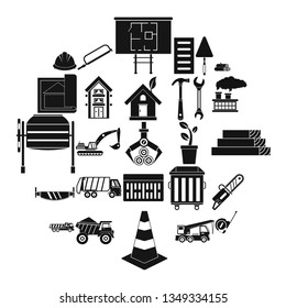 Sturdy house icons set. Simple set of 25 sturdy house icons for web isolated on white background