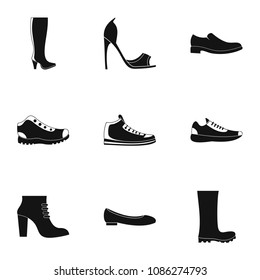 Sturdy shoes icons set. Simple set of 9 sturdy shoes icons for web isolated on white background