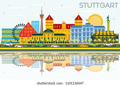 Stuttgart Germany Skyline with Color Buildings, Blue Sky and Reflections. Business Travel and Tourism Concept with Historic Architecture. Stuttgart Cityscape with Landmarks.