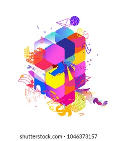 The style of abstract art, Suprematism, modern street art and graffiti. The design element is isolated on a white background, suitable for printing and web design, elements for the background.