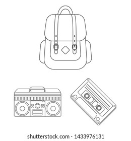 Style Hipster outline icons in set collection for design. Hipster Attributes and accessories bitmap symbol stock web illustration.