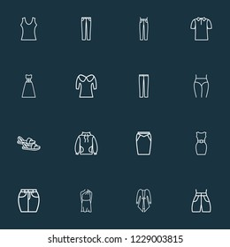 Style icons line style set with swimming trunks, puritan collar, jeans and other t-shirt elements. Isolated  illustration style icons.